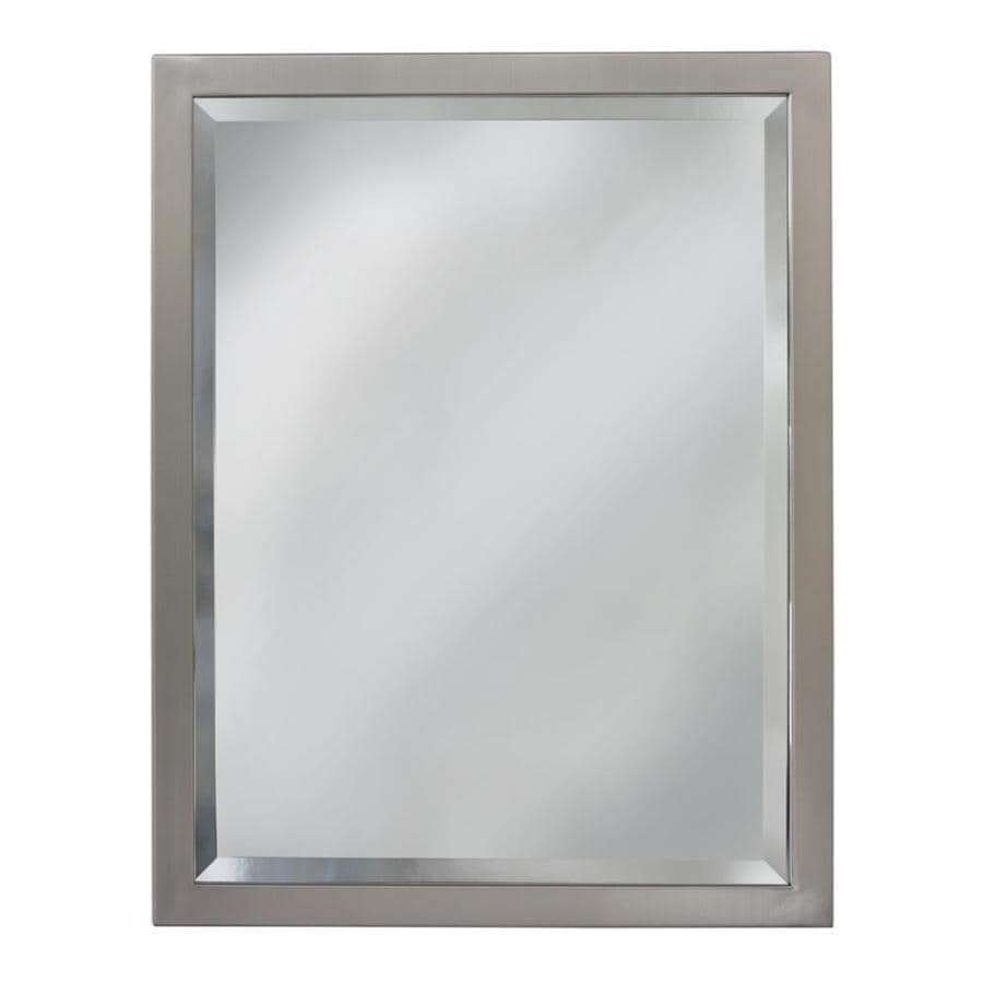 Shop allen roth 40 in l x 30 in w brush nickel beveled wall mirror at for Bathroom mirrors brushed nickel