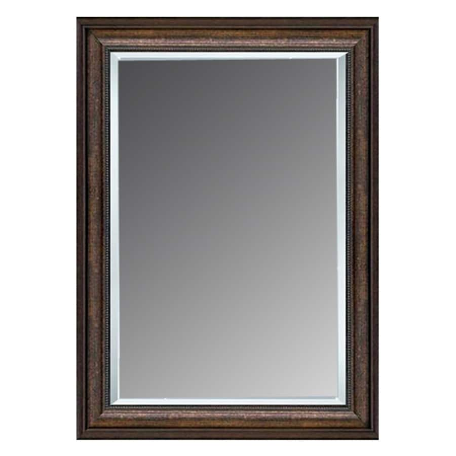 Shop allen roth copper beveled wall mirror at for Bathroom wall mirrors