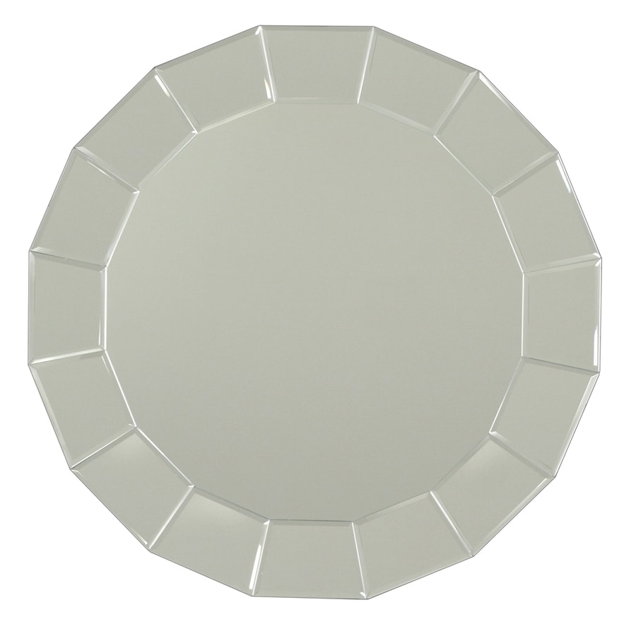 Shop allen roth beveled beveled round frameless wall for 16 in x 60 in beveled door mirror
