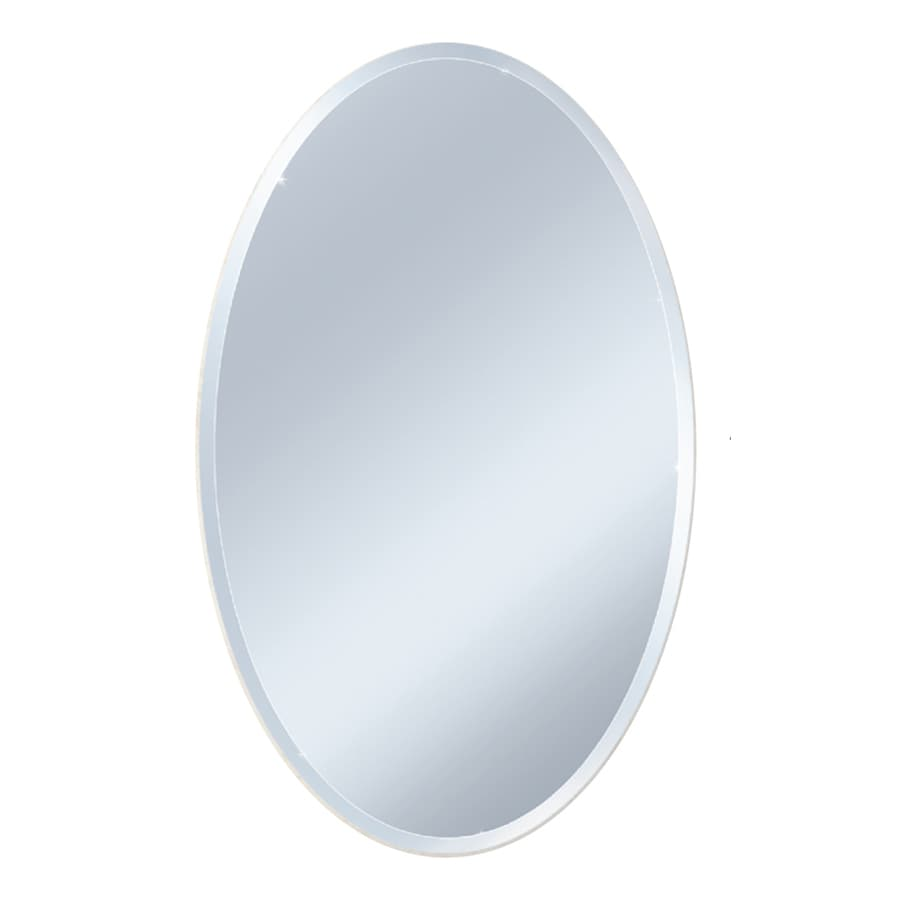 Style Selections 24-in x 36-in Beveled Oval Frameless Wall Mirror