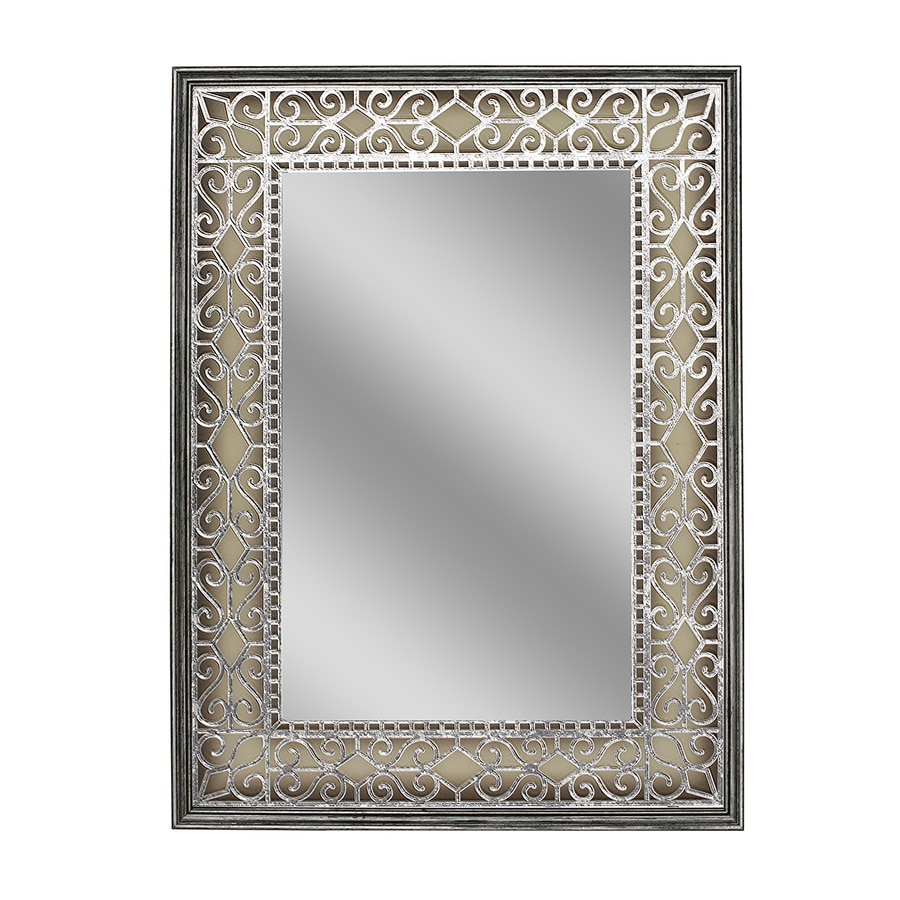 Style Selections 23.5-in x 31.5-in Gray/Silver Polished Rectangle Framed French Wall Mirror