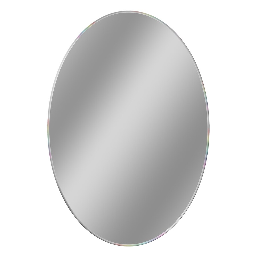 Style Selections 21-in x 31-in Beveled Beveled Oval Frameless French Wall Mirror