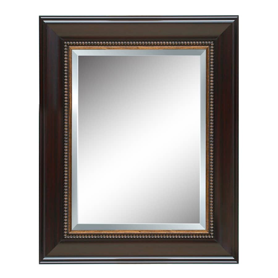Style Selections 32-in x 44-in Cherry Beveled Rectangle Framed French Wall Mirror