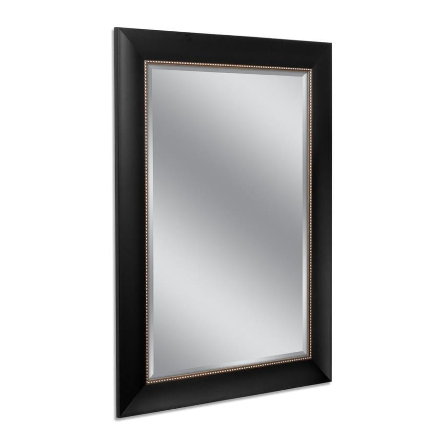 Shop allen roth black and silver beveled wall mirror at for Mirror black