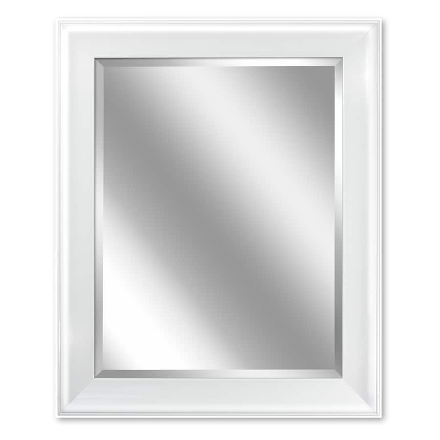 Shop allen roth 24 in x 30 in white rectangular framed for White mirror
