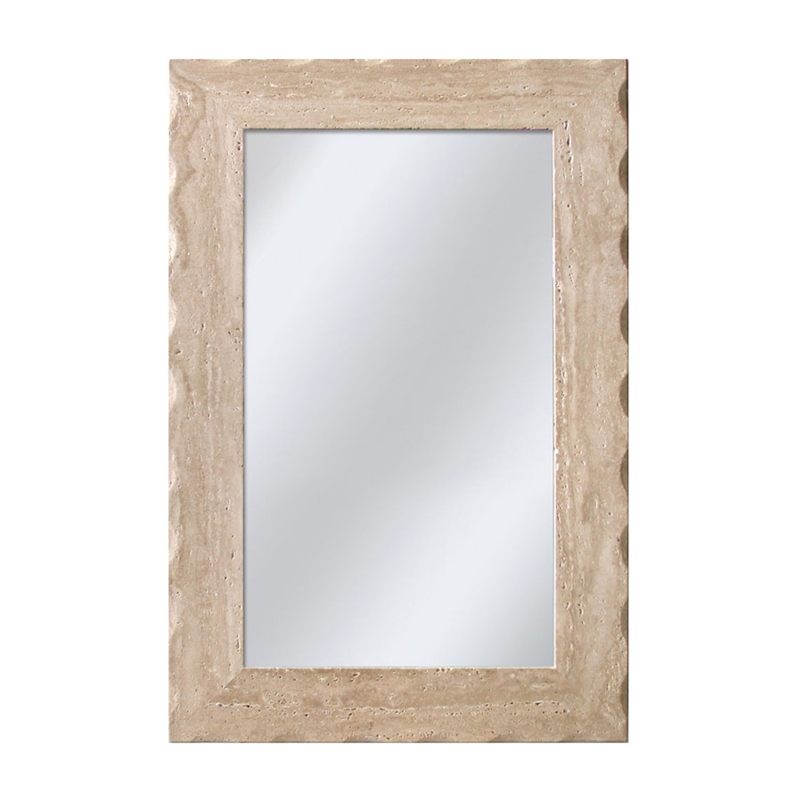 allen + roth Travertine Beveled Wall Mirror