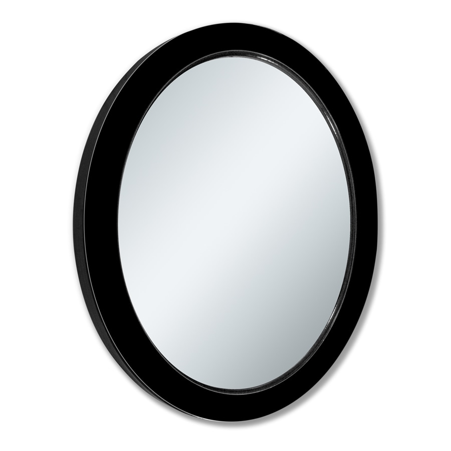 allen + roth 24-in x 30-in Black Beveled Oval Framed French Wall Mirror