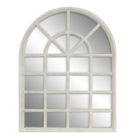34-in L x 26-in W Arch White Framed Wall Mirror