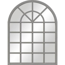 34-in L x 26-in W Arch Grey Framed Wall Mirror