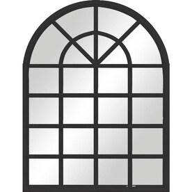 34-in L x 26-in W Arch Black Framed Wall Mirror