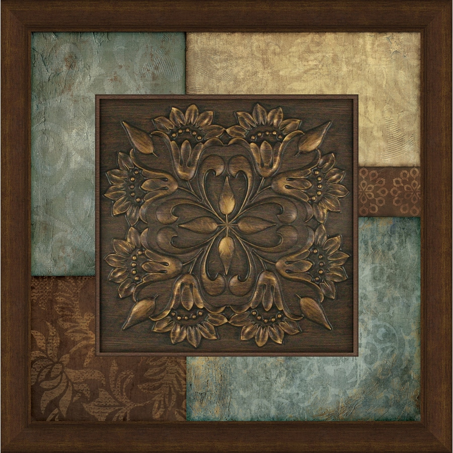Shop 27 in w x 27 in h framed abstract print at for Bronze wall art