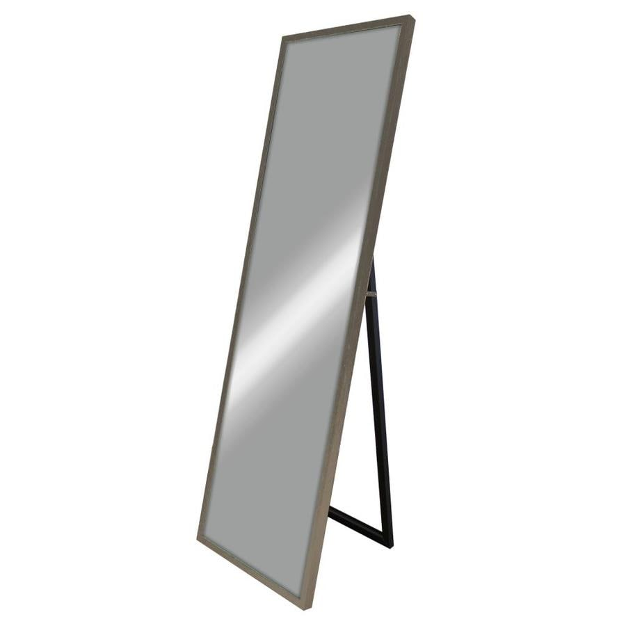 Gray Woodgrain Polished Wall Mirror