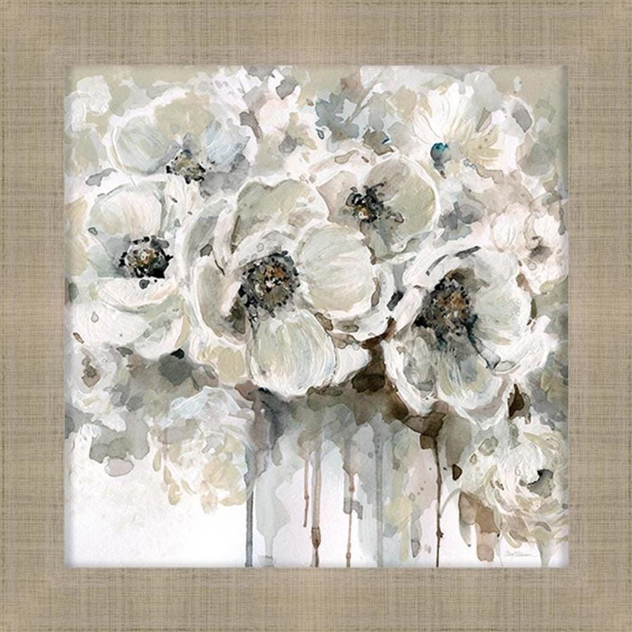 34-in W x 34-in H Framed Floral Print Wall Art