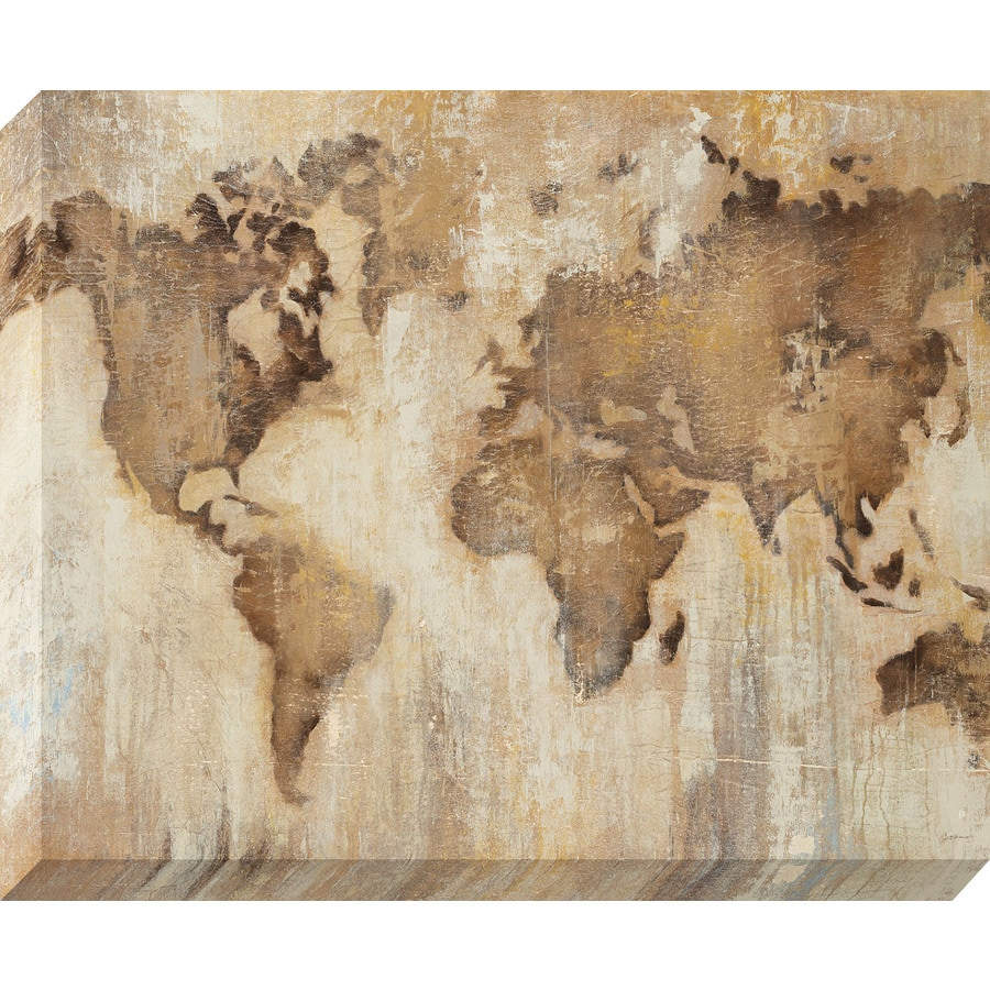 37-in W x 30-in H Frameless Canvas Maps Print Wall Art
