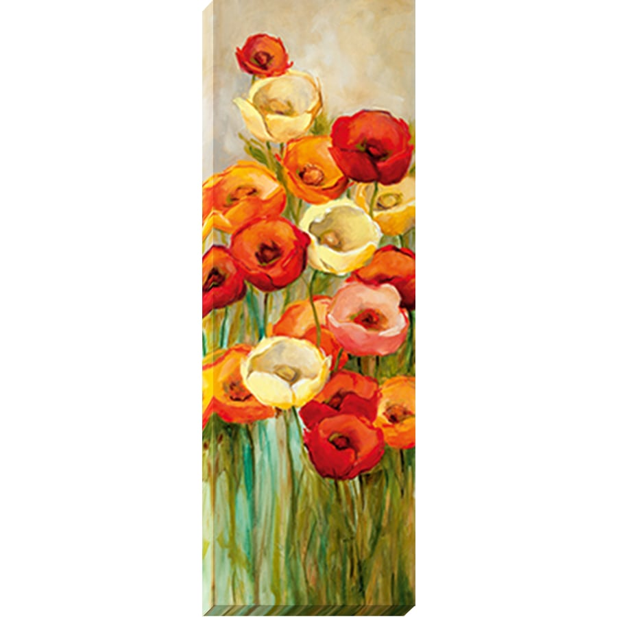 12-in W x 36-in H Frameless Canvas Floral Print Wall Art
