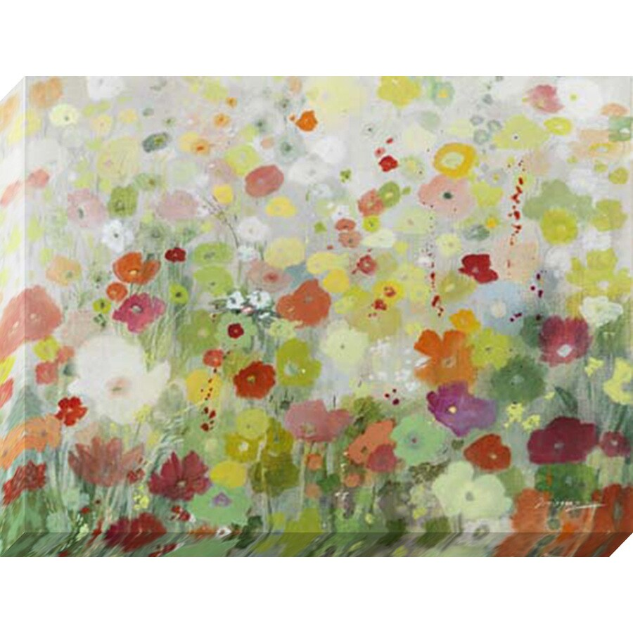 1-Piece 40-in W x 30-in H Frameless Canvas Floral Print Wall Art