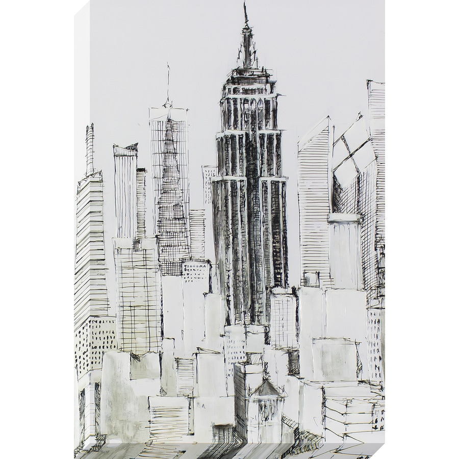 24-in W x 36-in H Frameless Canvas Cityscape Print Wall Art