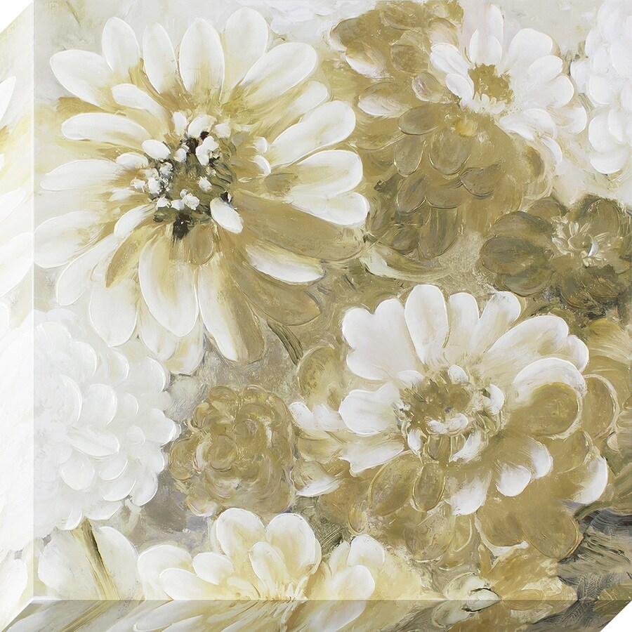 35-in W x 35-in H Frameless Canvas Floral Print Wall Art