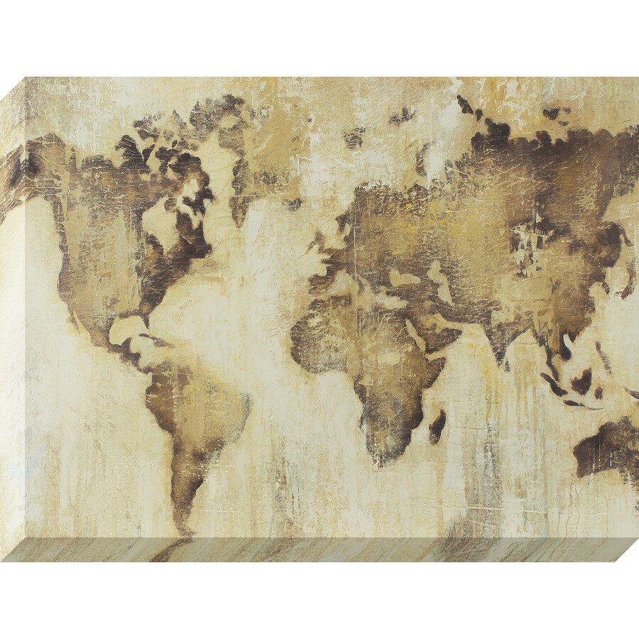 30-in W x 40-in H Frameless Canvas Maps Print Wall Art