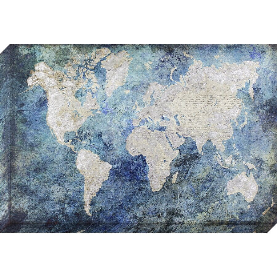 24-in W x 36-in H Frameless Canvas Maps Print Wall Art