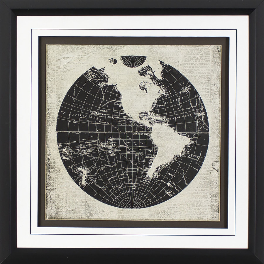 1-Piece 26.75-in W x 26.75-in H Framed Plastic Maps Print Wall Art