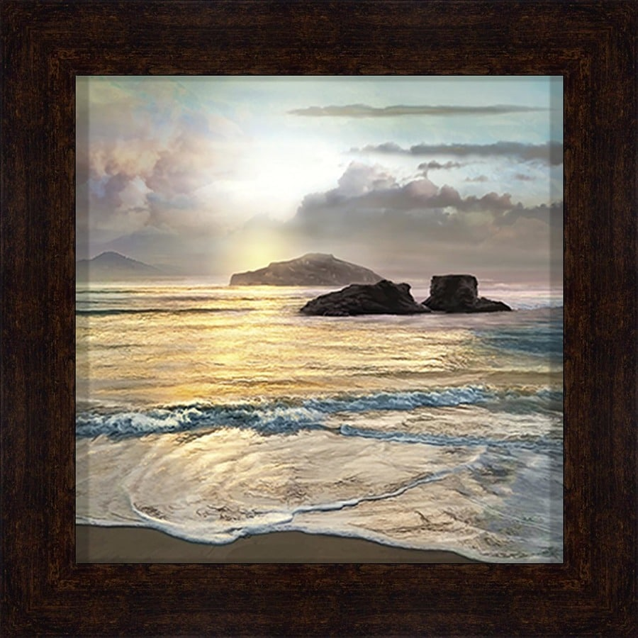 1 piece 34 in w x 34 in h framed plastic coastal print