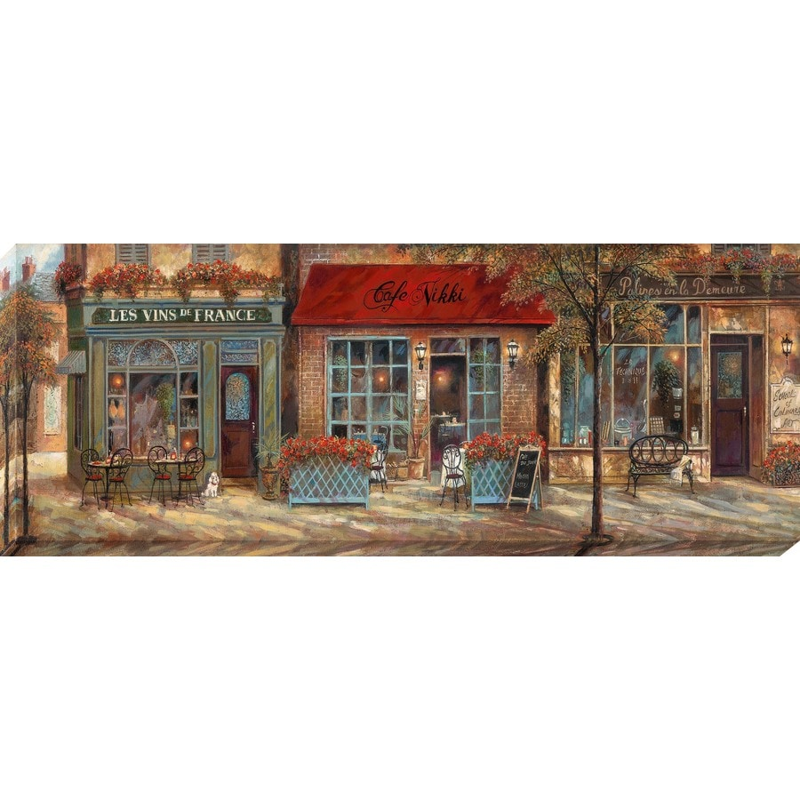 Shop 1 piece 37 in w x 14 in h frameless canvas cityscape for Kitchen cabinets lowes with wall art cityscape
