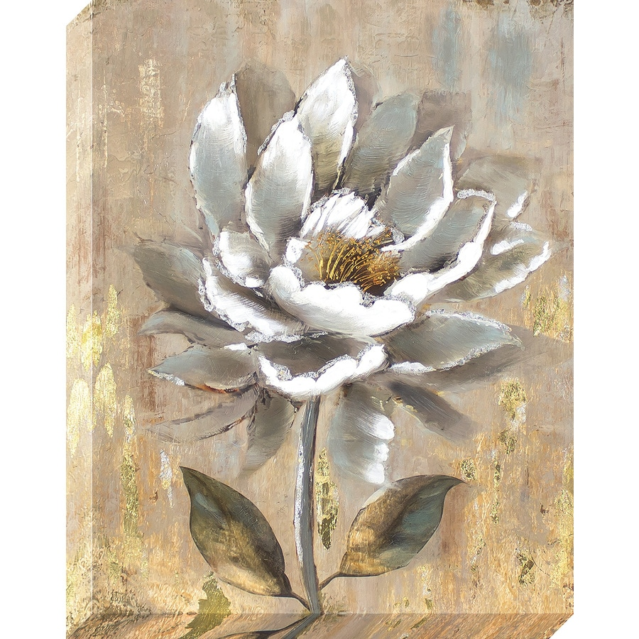 22-in W x 28-in H Frameless Canvas Floral Print Wall Art