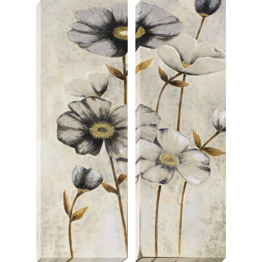 2-Piece 12-in W x 36-in H Frameless Canvas Floral Print Wall Art