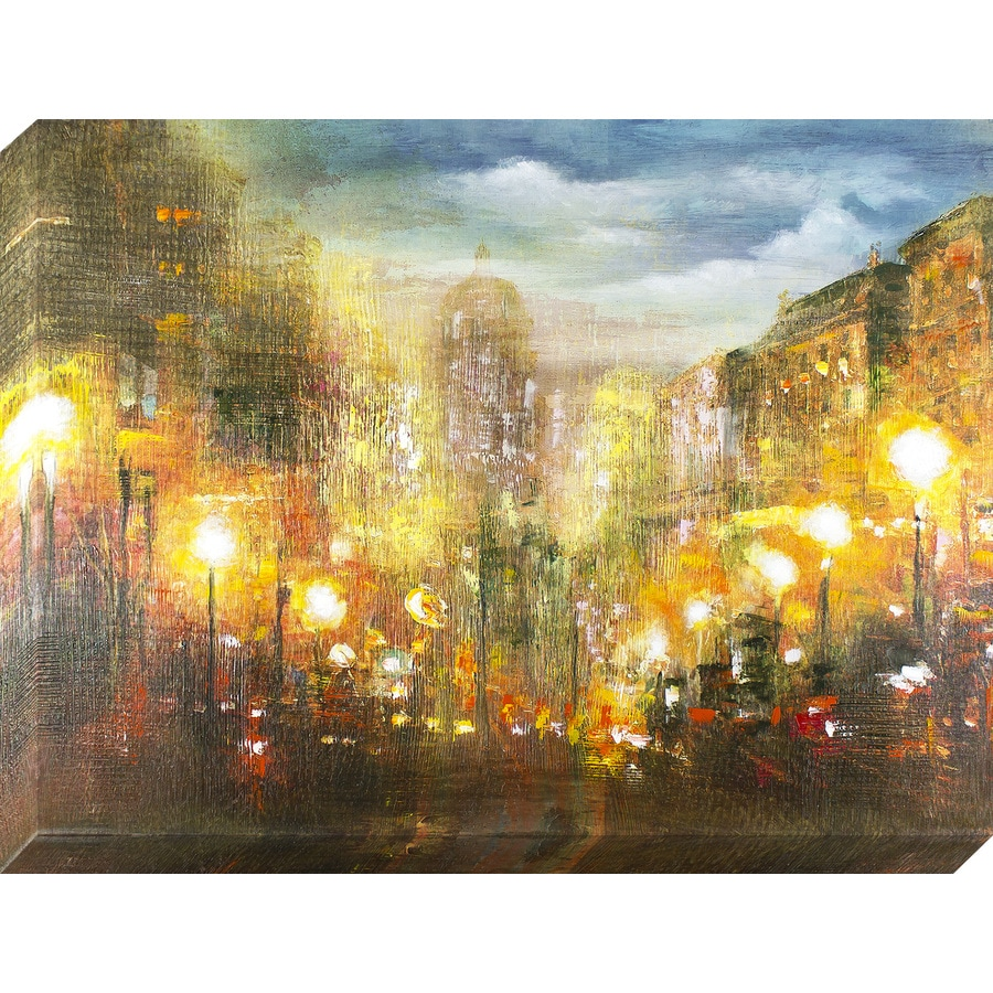30-in W x 40-in H Frameless Canvas Cityscape Print Wall Art