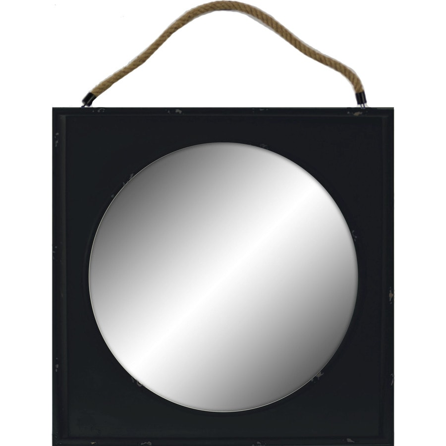22.44-in x 22.44-in Black Polished Square Framed Traditional Wall Mirror