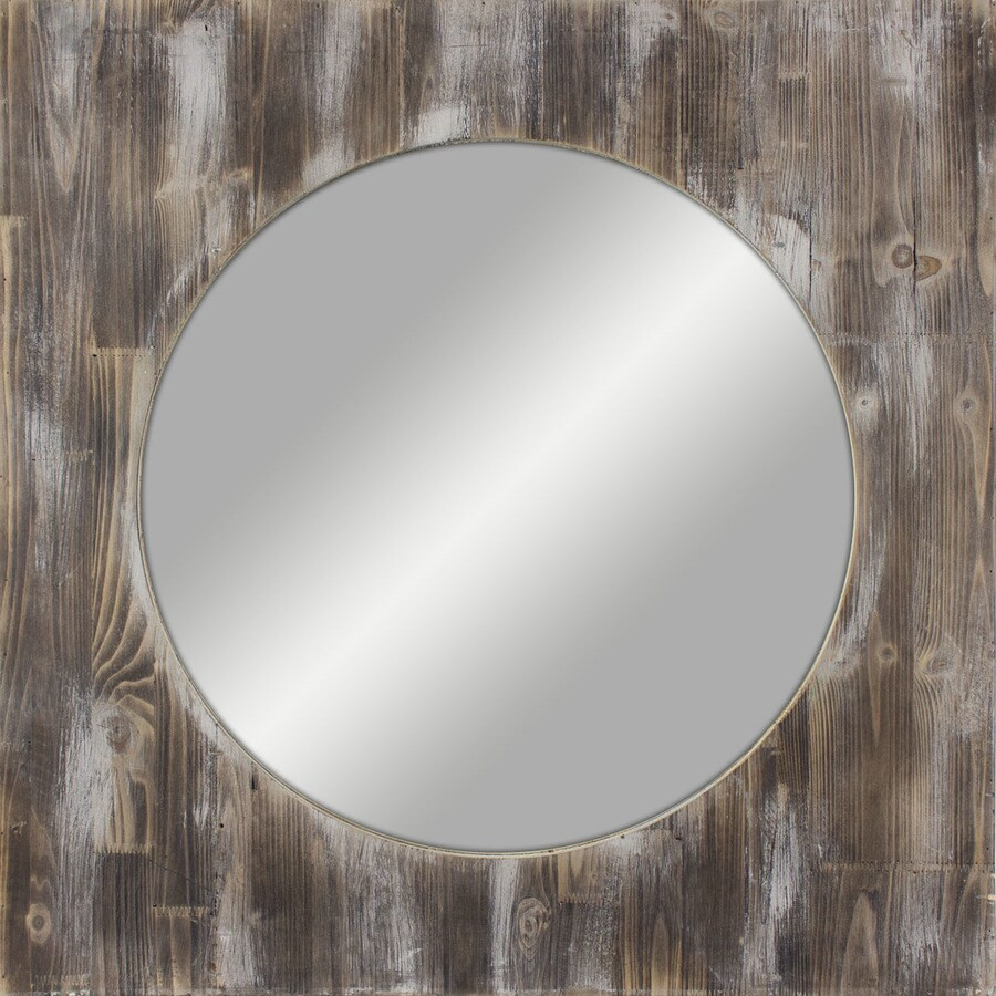 Shop medium reclaimed woodgrain polished square wall for Square mirror