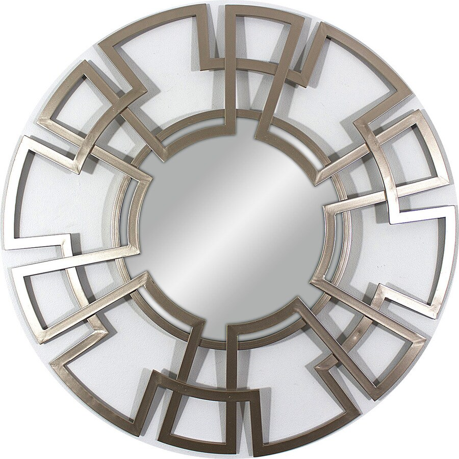 33-in x 33-in Champagne Polished Round Framed Contemporary Wall Mirror
