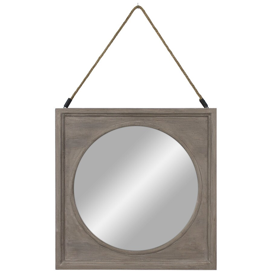 22.44-in x 22.44-in Reclaimed Woodgrain Polished Square Framed Transitional Wall Mirror