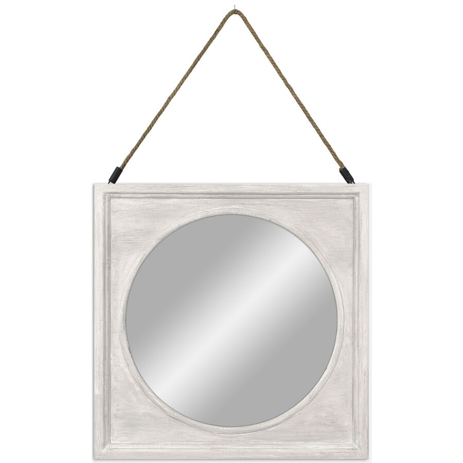 Whitewash Woodgrain Polished Square Wall Mirror