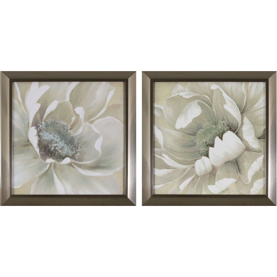 2-Piece 14-in W x 14-in H Framed Floral Print Wall Art