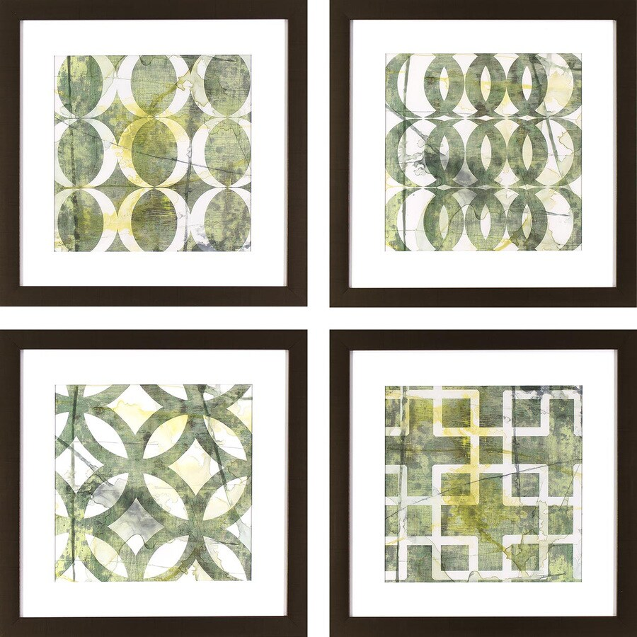 4-Piece 17.75-in W x 17.75-in H Framed Plastic Abstract Print Wall Art