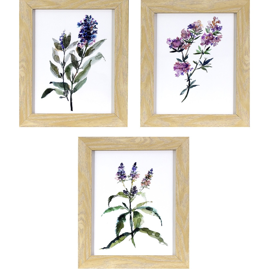 3-Piece 10-in W x 12-in H Framed Floral Print Wall Art