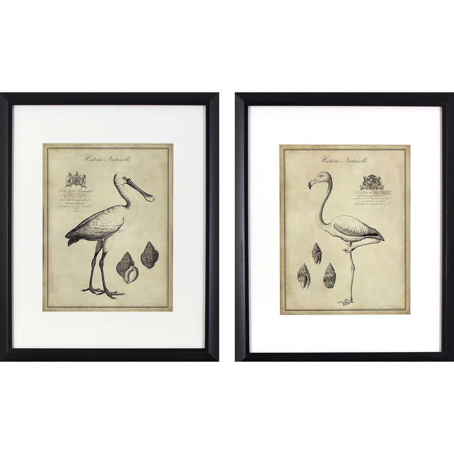 2-Piece 17.75-in W x 21.75-in H Framed Animals Print Wall Art
