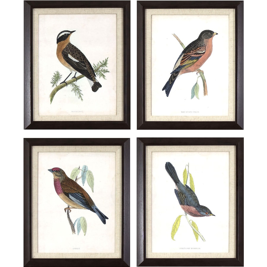 4-Piece 14.25-in W x 17.25-in H Framed Animals Print Wall Art