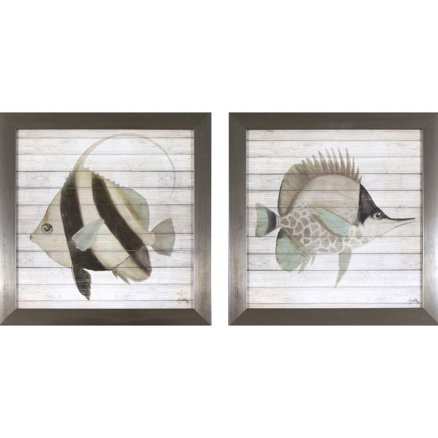2-Piece 13.75-in W x 13.75-in H Framed Coastal Print Wall Art