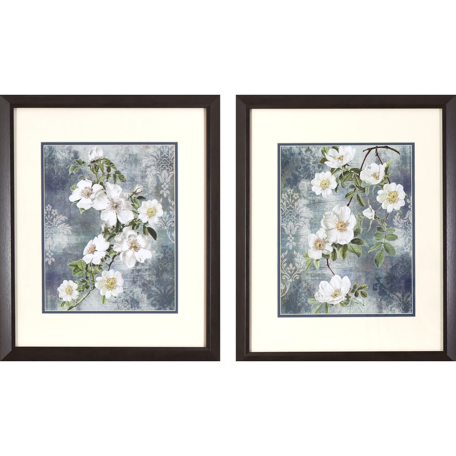2-Piece 17.75-in W x 21.75-in H Framed Floral Print Wall Art