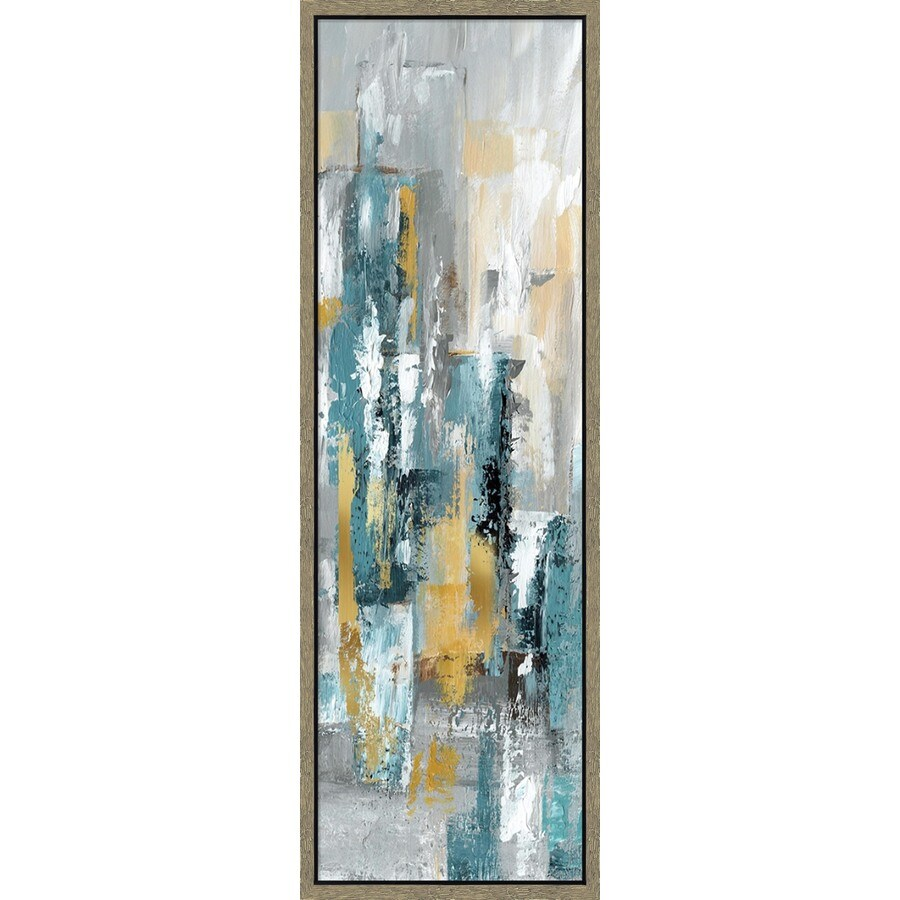 12-in W x 36-in H Framed Canvas Abstract Print Wall Art
