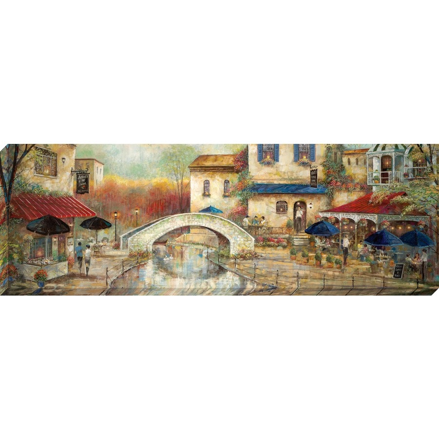 36-in W x 12-in H Frameless Canvas Cityscape Print Wall Art