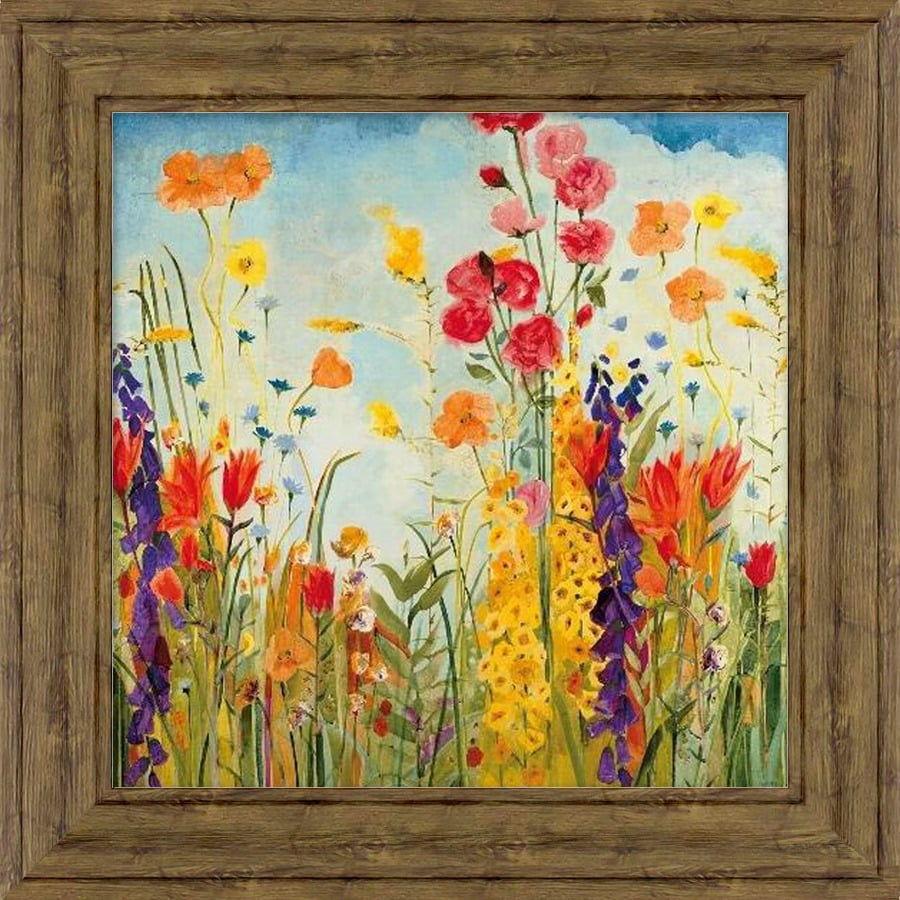 34-in W x 34-in H Framed Plastic Floral Print Wall Art
