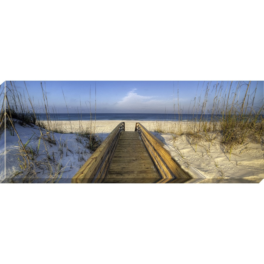37-in W x 14-in H Frameless Canvas Coastal Print Wall Art
