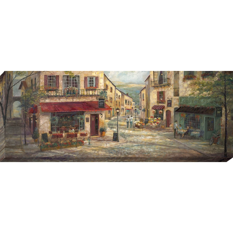 37-in W x 14-in H Frameless Canvas Cityscape Print Wall Art