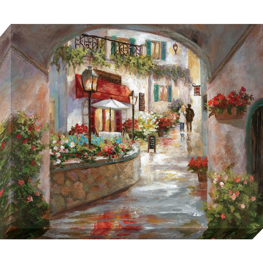 37-in W x 30-in H Frameless Canvas Cityscape Print Wall Art