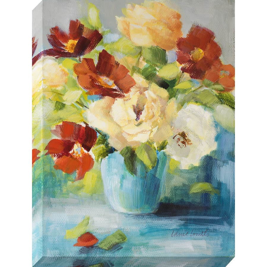 30-in W x 40-in H Frameless Canvas Floral Print Wall Art