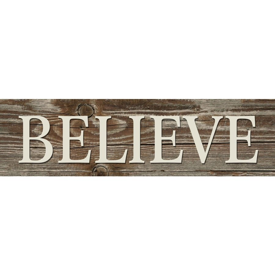 31-in W x 8-in H Frameless MDF Inspirational Believe Plaque Wall Art